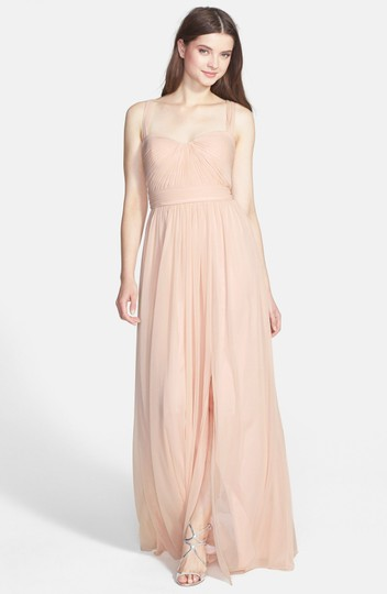 Monique Lhuillier Jersey Chiffon Gown In Blush Formal Bridesmaid/Mob Dress Size 0 (XS)