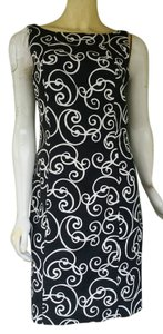 Ann Taylor short dress Black Cotton Sheath Swirl Sleeveless on Tradesy