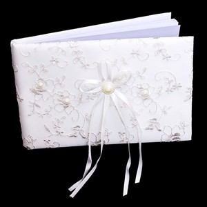 White Clear Embroidered Lace Flower Accent Bridal Wedding Guess Book