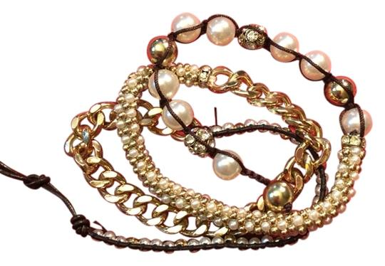 Other Multi Wrap Gold Chain, Pearl and Rhinestone Bracelet