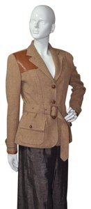 Ralph Lauren Blue Label Equestrian Wool Tweed Riding TAN Jacket