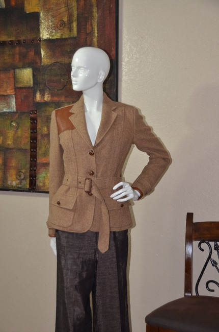 Ralph Lauren Blue Label Equestrian Wool Tweed Riding TAN Jacket Image 1