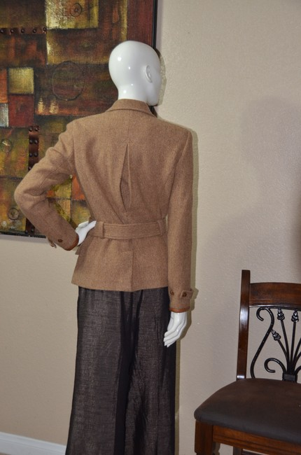 Ralph Lauren Blue Label Equestrian Wool Tweed Riding TAN Jacket Image 2