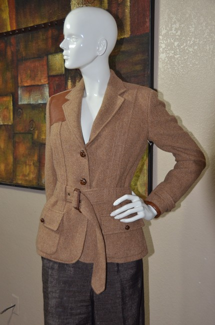 Ralph Lauren Blue Label Equestrian Wool Tweed Riding TAN Jacket Image 3