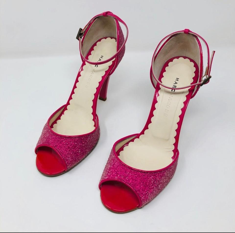 bafb0cebd25 Marc by Marc Jacobs Hot Pink Sparkly Peep Toe Heels Sandals Size US 8.5  Regular (M, B) 58% off retail