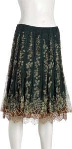 Elie Tahari Silk Floral Skirt Teal Green