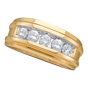 Mens Luxury Designer 14k Yellow Gold .50 Cttw Diamond Fashion Ring Wedding Band