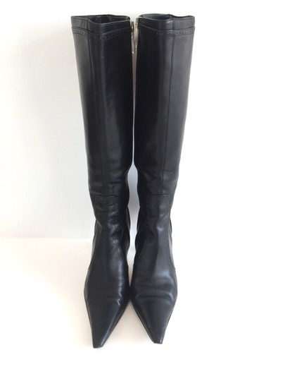 Karen Millen Leather Stiletto Black Boots