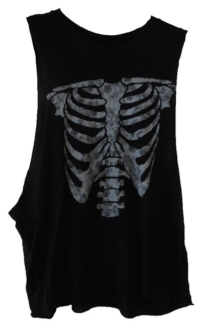 Brandy Melville Muscle Skull T Shirt Black