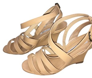 Manolo Blahnik Tan Wedges