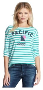 Sundry Boat Neck Striped Pacific T Shirt GREEN AND WHITE