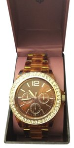Watch with Tortoise Band and Rhinestone Dial