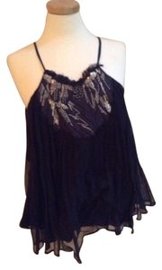 Vanessa Bruno Top Black Silk With Gold Adornments
