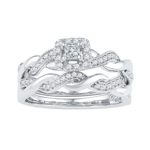 Luxury Designer 10k White Gold 0.33 Cttw Diamond Engagement Ring Bridal Set