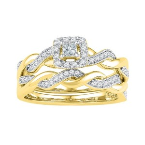 Luxury Designer 10k Yellow Gold 0.33 Cttw Diamond Engagement Ring Bridal Set