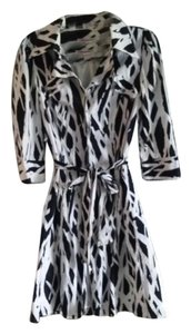 Diane von Furstenberg short dress black and white Wrap Animal Print Dvf on Tradesy