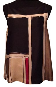 Theory Top Black, brown, stone, red