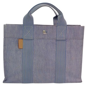 Hermès Canvas Fourre Tout Tote in Blue/White