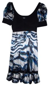 bebe Bandage Silky Tie Dye Ruffled Dress