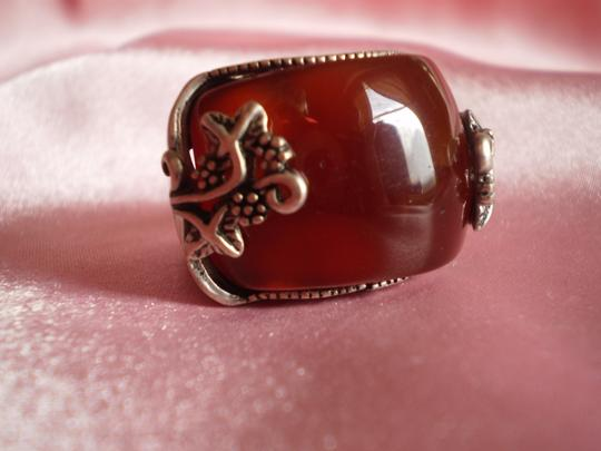 Other New Red Agate in Silvertone (Adjustable)
