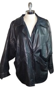 Gino Di Giorgio. vintage Leather BLACK Leather Jacket