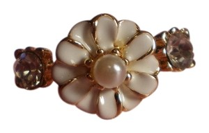 New Enamel Flower, Faux Pearl, Austrian Crystals on Goldtone (size 8)
