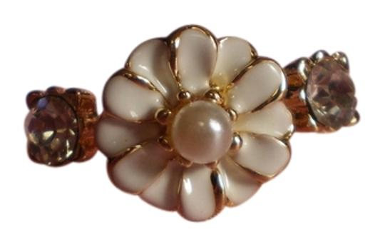 Other New Enamel Flower, Faux Pearl, Austrian Crystals on Goldtone (size 8)