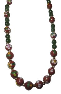 14 k Jade and Cloisonne Enamel Necklace