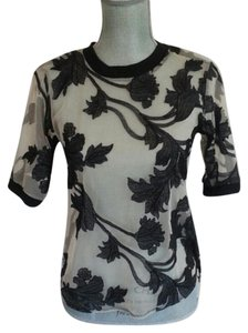 Anthropologie Sheer Embroidered T Shirt Black and Cream