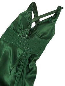 Morrell Maxie Silk Long Prom Beads Emerald Dress
