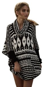 Free People Rosie Lee Poncho Xs Black & White Generous Sizing Sweater