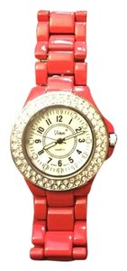 Red Metal Bracelet Watch with Rhinestone Dial