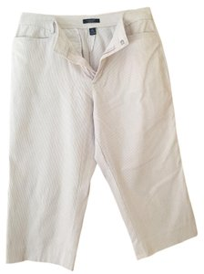 Chaps Capris White & Tan Stripe