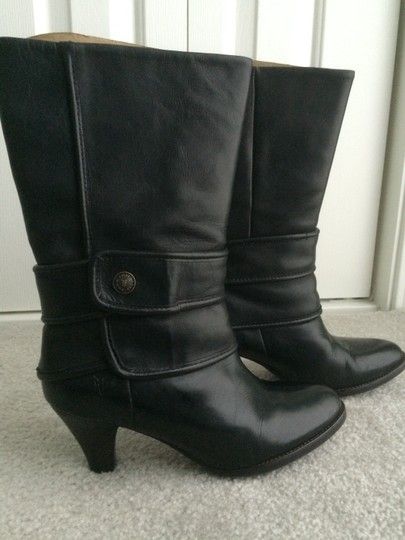 Frye Leather Button Black Boots