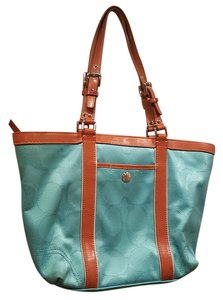 Coach Tote in Blue and Brown