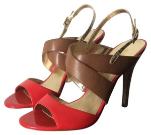 Audrey Brooke Melon And Brown Leather. Gold Straps And Heel Sandals