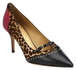 Salvatore Ferragamo Studded Calf Hair Leopard black Pumps
