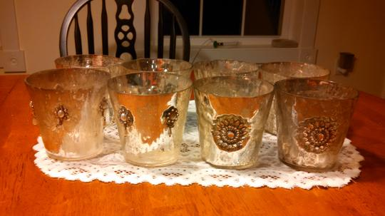 Set Of 8 Silver / Gold Mercury Glass Votive Candle Holders / Small Vases With Rhinestone And Pearl Details