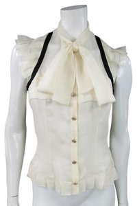 Chanel Bow Ruffles Trim Gold Top Cream