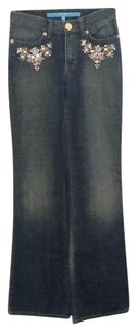 Escada Rhinestones Blue Chic Straight Leg Jeans-Medium Wash