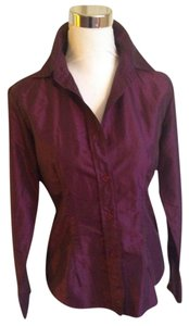 Sisley Satin Button Down Fitted Top Eggplant purple