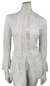 Oscar de la Renta Lace Crochet Ruffle Longsleeve Cinch Top white