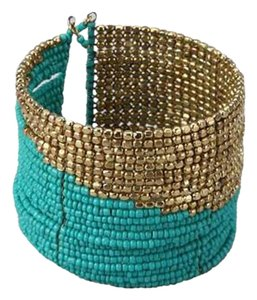 All The Rage Turquoise & Gold Seed Bead Cuff Bracelet