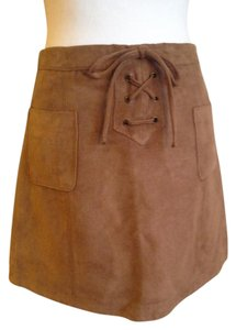 Hollister Mini Pockets Drawstring Vegan Suede Mini Skirt Brown / Camel