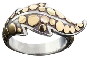 John Hardy size 7.25, 18k yellow gold, sterling silver, Ayu Dot Leaf ring