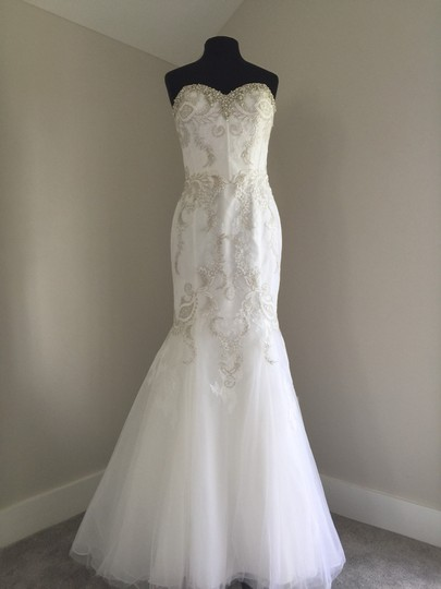 Enzoani White/Silver Lace & Tulle Sexy Wedding Dress Size 10 (M) Image 10