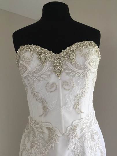 Enzoani White/Silver Lace & Tulle Sexy Wedding Dress Size 10 (M) Image 7