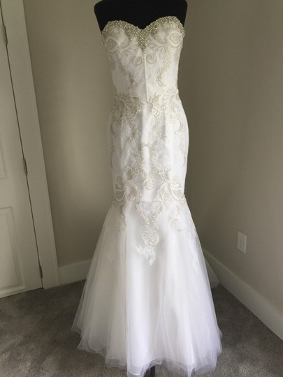 Enzoani White/Silver Lace & Tulle Sexy Wedding Dress Size 10 (M) Image 8