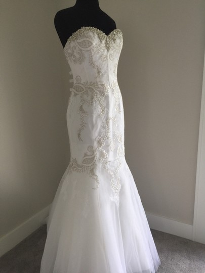 Enzoani White/Silver Lace & Tulle Sexy Wedding Dress Size 10 (M) Image 9