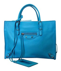 Balenciaga Papier Leather A6 Zip Around City Tote in Blue